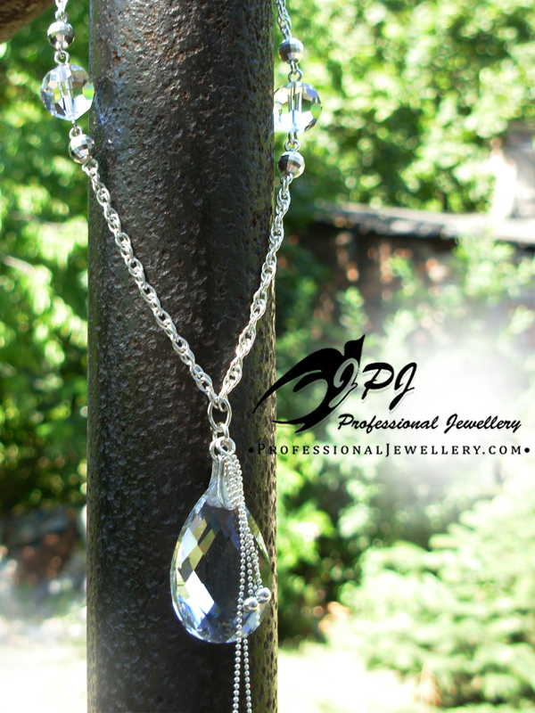 JPJ Professional Jewellery crystal glass sterling silver necklace.jpg