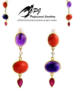 JPJ Professional Jewellery 14K yellow gold earrings with gemstones - amethyst, c