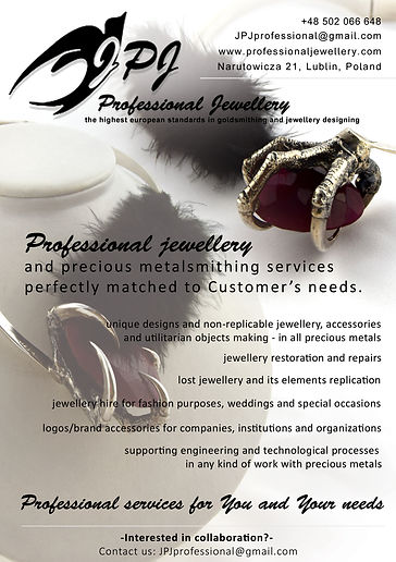 JPJ Professional Jewellery JPJ J.P.J. Jolanta Ewa Jajszczyk Profesjonalne Jubilerstwo the highest standards in goldsmithing and jewellery designing jewelry unique leaflet