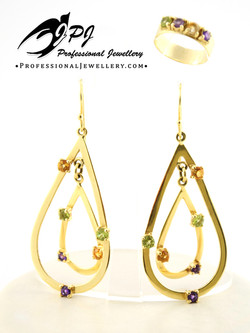JPJ Professional Jewellery 14K yellow gold set with multicoloured and natural ge