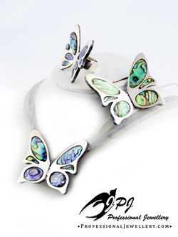 JPJ Professional Jewellery butterflies jewelry set in sterling silver with nacre