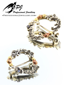 JPJ Professional Jewellery sterling silver, 14K yellow and rose gold with diamon