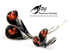 JPJ Professional Jewellery oxidized sterling silver coral jewelry set - brooch a
