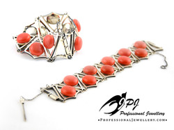 JPJ Professional Jewellery sterling silver bracelet with coral 1.jpg