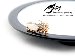 JPJ Professional Jewellery moonstone beetle in 14K yellow gold and sterling