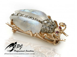 JPJ Professional Jewellery moonstone lout beetle in 14K yellow gold and sterling