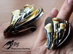 JPJ Professional Jewellery sterling silver set with deer teeth - antlers, bones