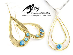 JPJ Professional Jewellery gilt sterling silver set with topaz - earrings and pe