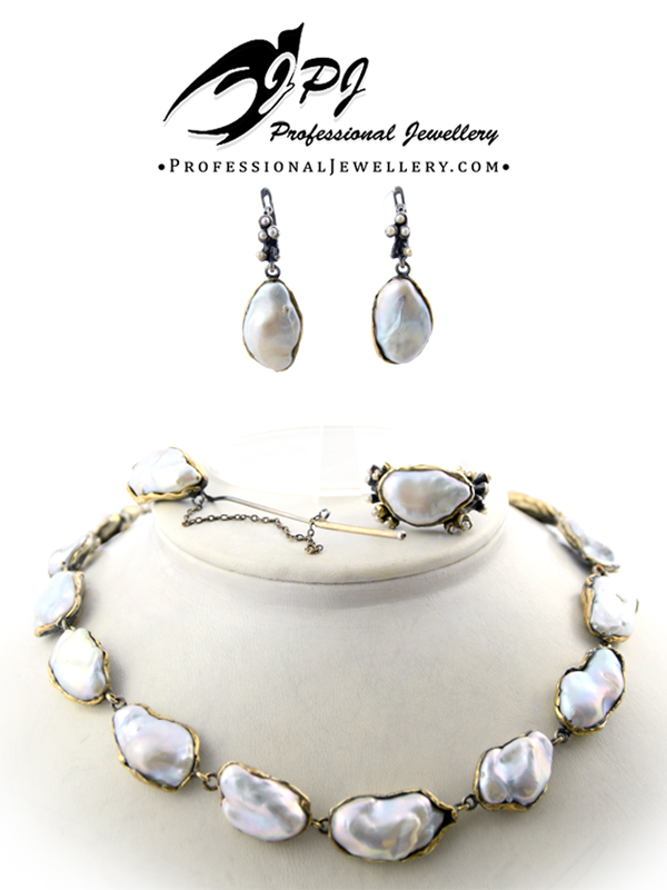 JPJ Professional Jewellery natural pearl gold plated sterling silver jewelry set