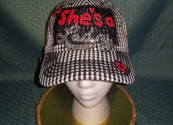 She's A Lady~ Black Gingham Baseball Cap