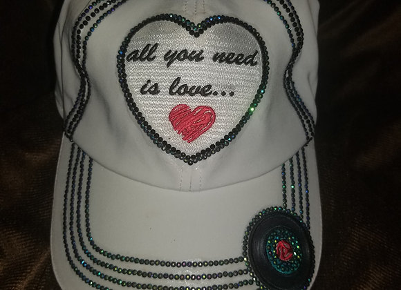 """All You Need is Love"" ~ White Active Hat"