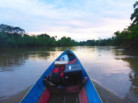 Shuar canoe sunset.JPG