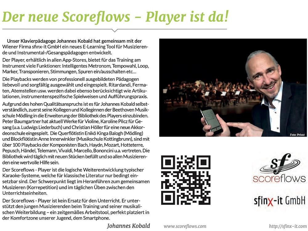 Scoreflows - Player, Artikel im Newsletter des Elternvereins der Beethoven Musikschule - Mödling (AUT)