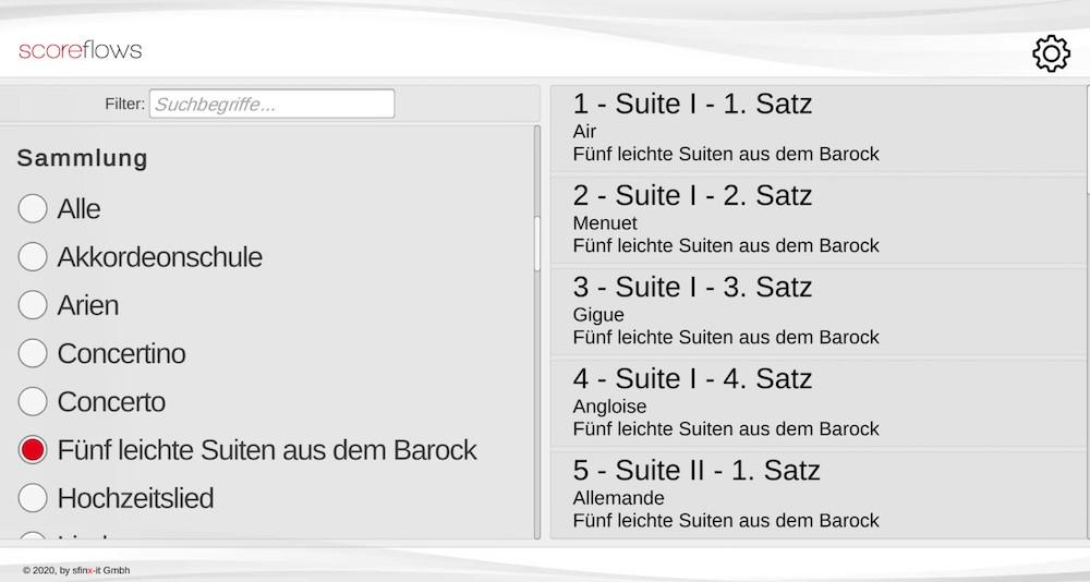 """Scoreflows - Player Ansicht - Sammlung: """"Fünf kleine Suiten aus dem Barock"""