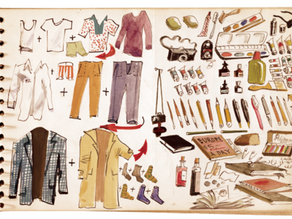 Things I love: Scene painter Adolf Konrad's graphic packing list (December, 1963)