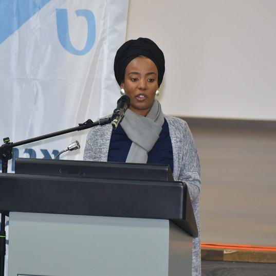 Youth Program Gradute makes a speech at scholarship ceremony