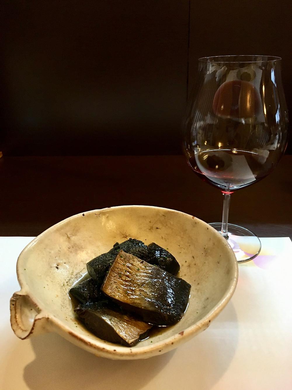 炊合せと赤ワイン