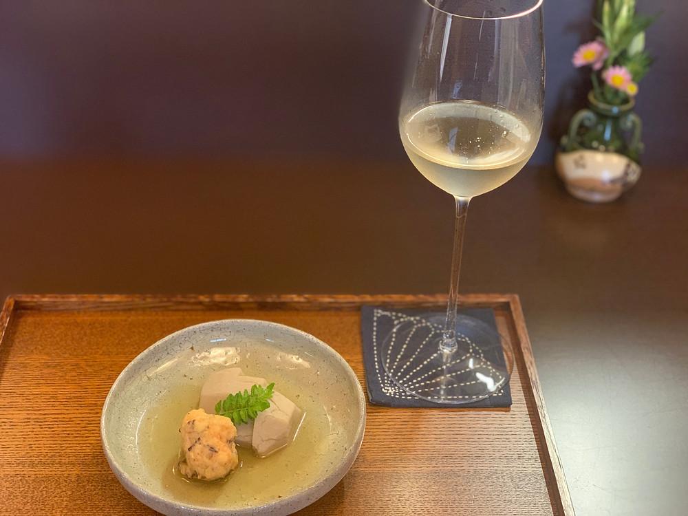 炊合せと日本酒とアブサン