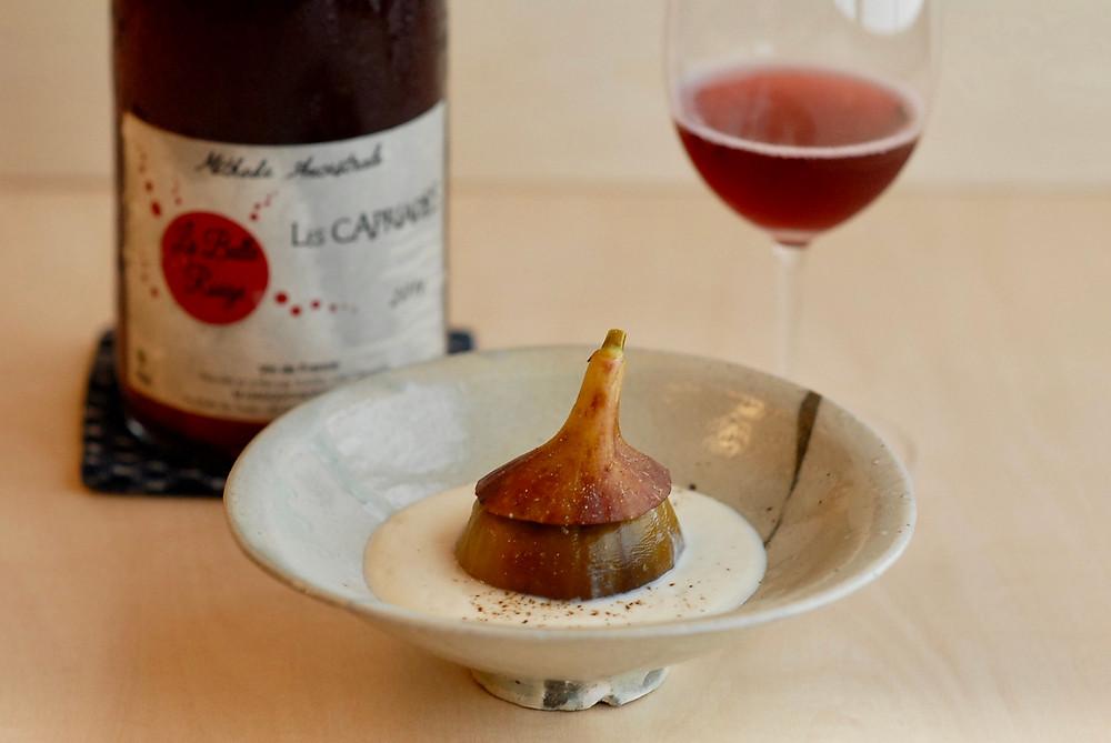 神戸市北区大沢(おおぞ)のイチヂクの甲州煮と、ぱちぱち跳ねるワイン