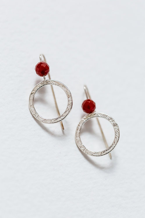 French Knit Imprinted Hoop Studs With Red Carnelian Beads
