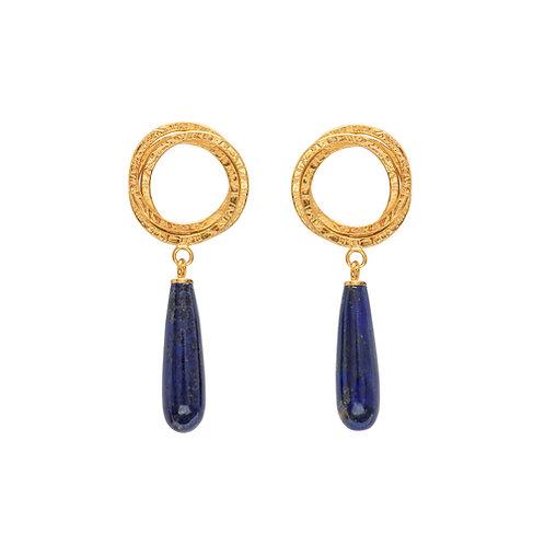 Magic Circle Earrings With Lapis Lazuli Teardrop Bead