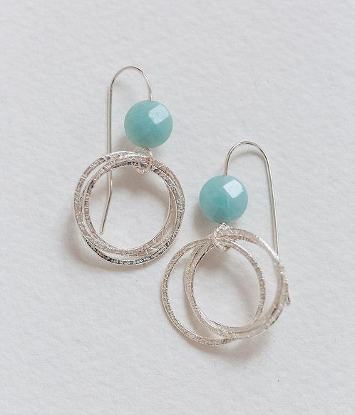 Hoop Cluster Earrings with Amazonite Beads