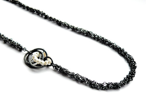 Asymmetric Crochet Chain Necklace with Cluster Hoop & Pearls