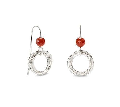 Hoop Cluster Earrings with Red Carnelian Beads