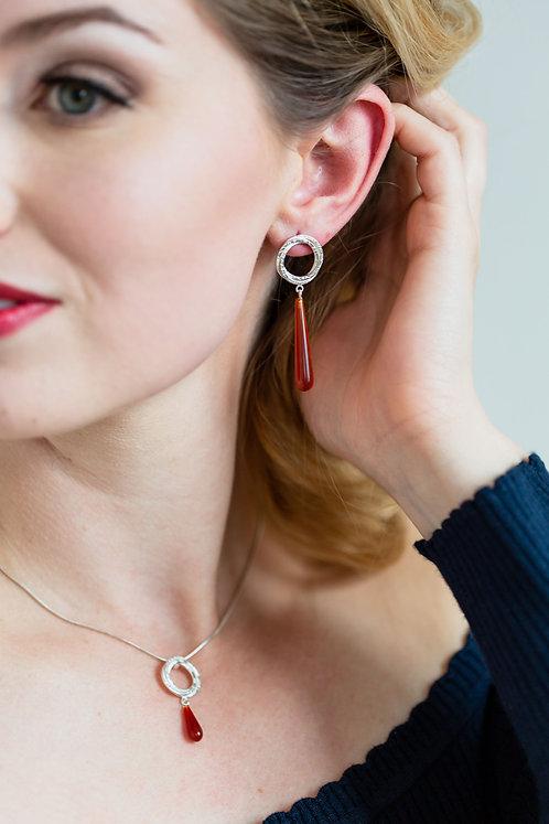 Magic Circle Earrings With Carnelian Teardrop Bead