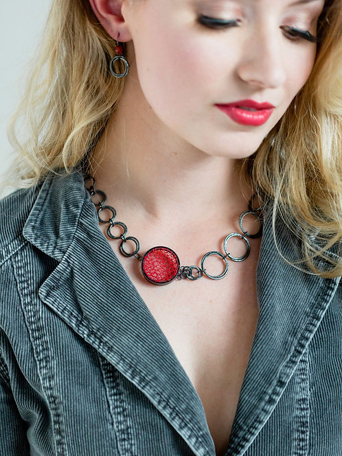Asymmetric Red Fabric Pendant on Hoop Cluster Necklace