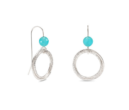 Hoop Cluster Earrings with Chalcedony Beads