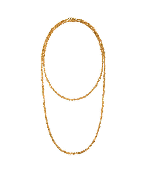 Long Crochet Trace Chain Necklace - 22ct Gold Plated Silver