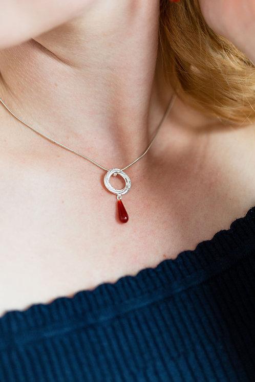 Magic Circle Pendant With Carnelian Teardrop Bead
