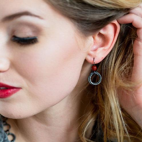 Oxidised Hoop Cluster Earrings with Red Carnelian Beads