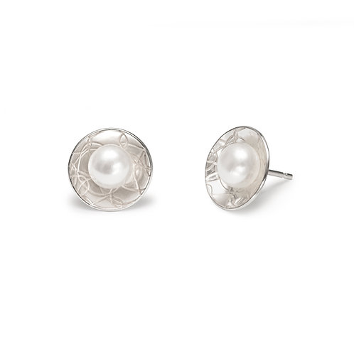 Domed Circle Studs with Pearl
