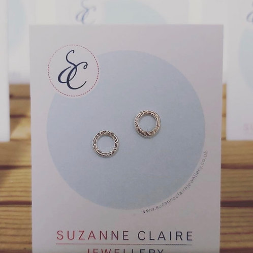 5mm French Knit Imprint Hoop Studs