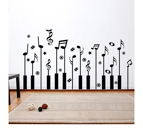 Piano Keys & Music Symbols Wallpaper