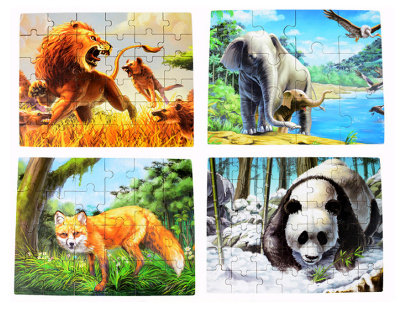 4-In-1 Animal Kingdom Puzzle Set