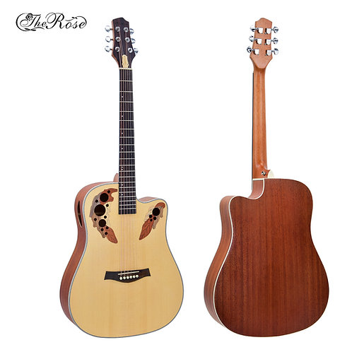 """The Rose Acoustic Guitar (41"""" Spruce Wood, W/O Pickup)"""
