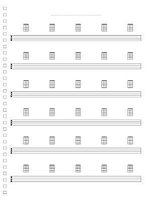 6 Lines 50/100 Pages TAB & Chord Diagram Manuscript Book