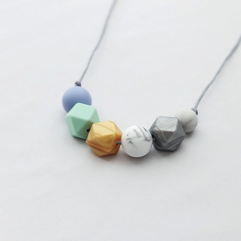 Sienna Blue & Gold Teething Necklace