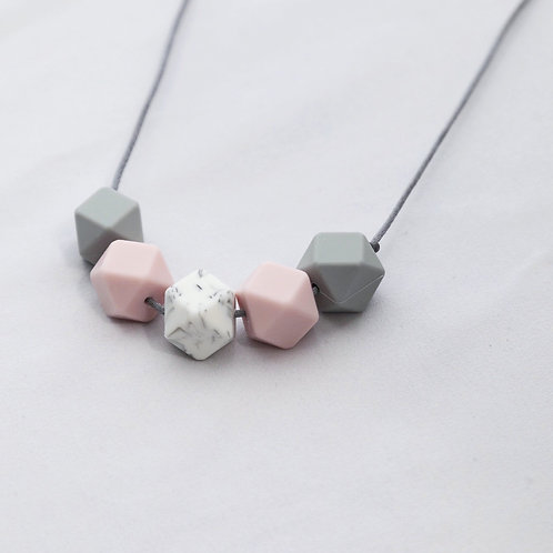 Iris Teething Necklace in Pink and Grey