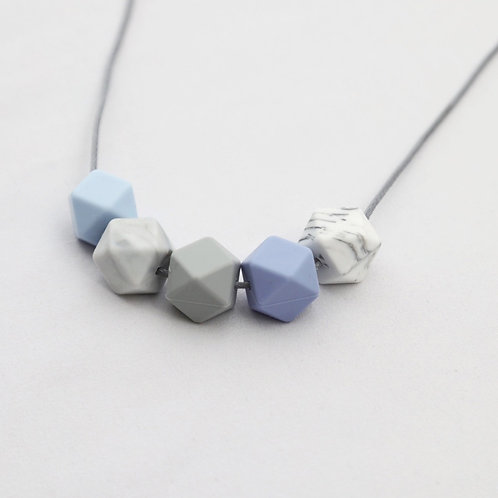Iris Teething Necklace in Blue and Marble
