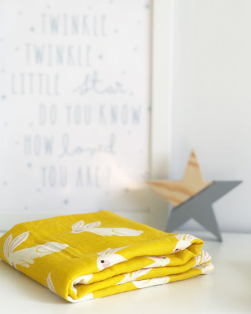 Bunny Cotton Muslin Square Mustard and White