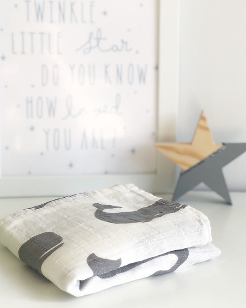 Whale Cotton Muslin Square Grey and White