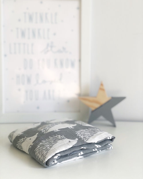 Hedgehog Cotton Muslin Square Grey and White