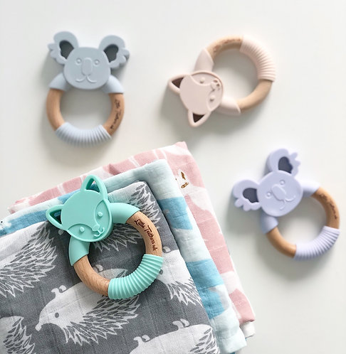 Koala Beech Wood and Silicone Teether