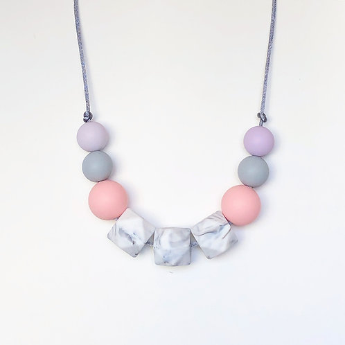 Olivia Teething Necklace in Pink and Lilac