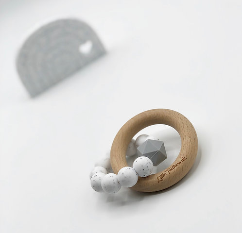 Speckled White Teething Ring