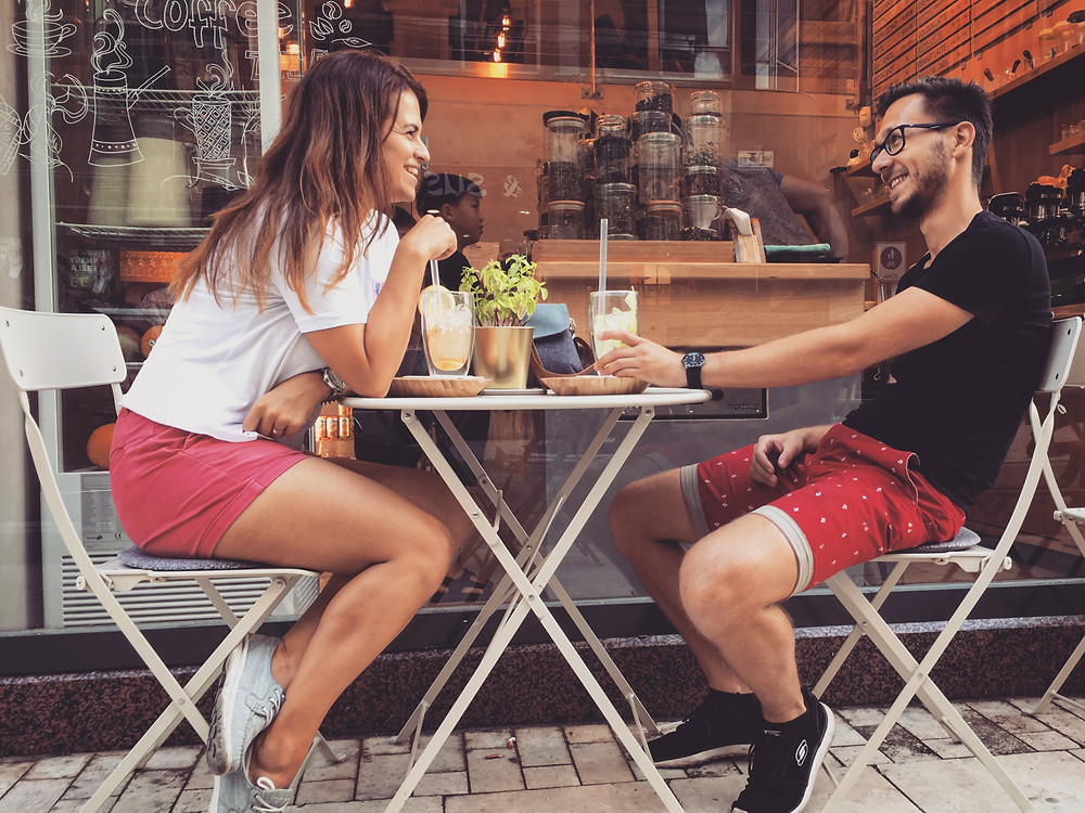Travel couple & coffee time